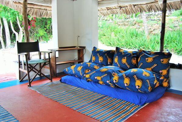 unique living room inside a bungalow for rent in Zanzibar