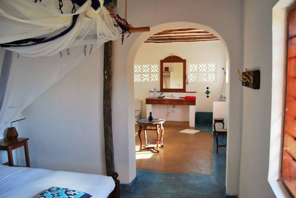 quaint and luxurious villa bedroom in Zanzibar